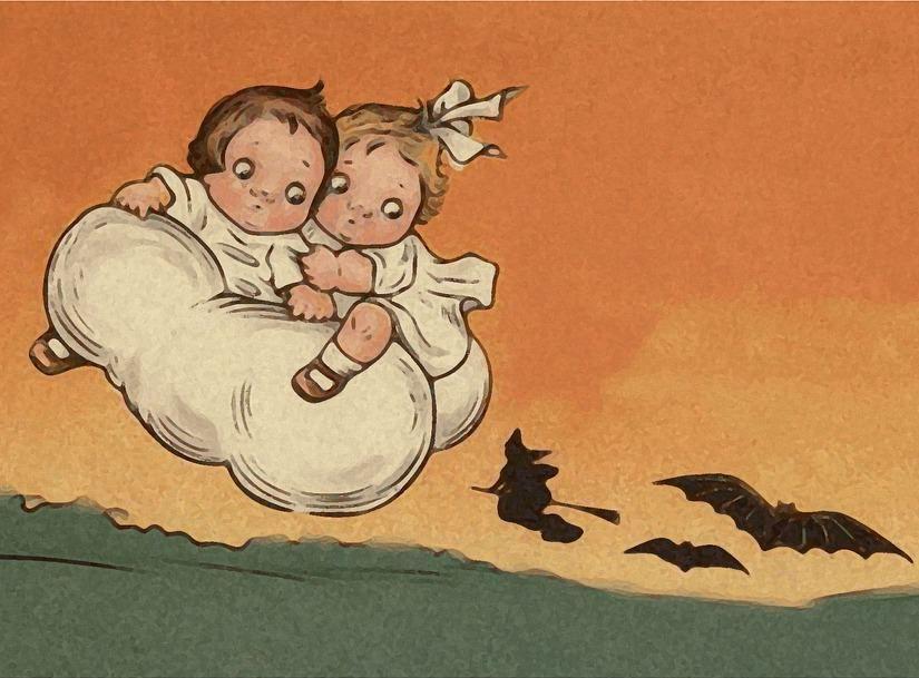 Kinder flüchten auf einer Wolke vor der Hexe und haben Angst